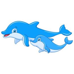 Delfinek színes matrica kép