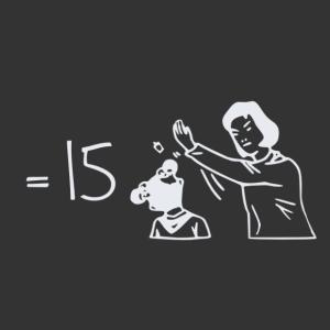 4x4 egyenlő 15, durr egy pofon matrica kép