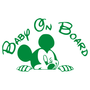 Baba az autóban - Mickey matrica kép
