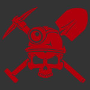 Bányász-barlangász koponya matrica kép