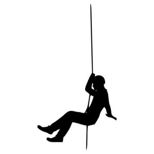 Barlangász kötélen hobbi matrica kép