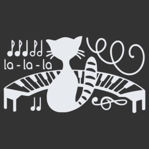 Cica a zongoránál matrica kép