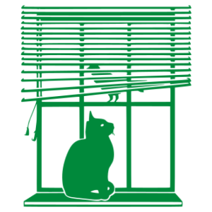 Cica az ablakban matrica kép