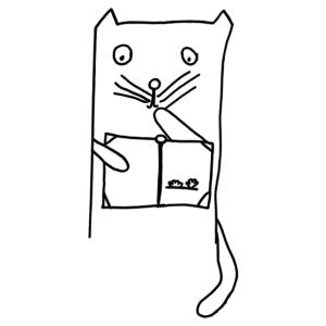 Cuki olvasó macskás gyerekszoba falmatrica kép
