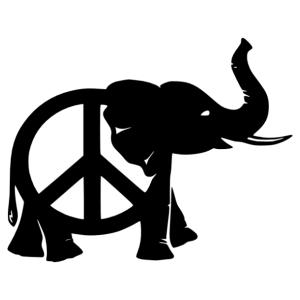 Elefánt és hippi béke jeles falmatrica kép