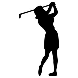 Golfozó nő matrica kép