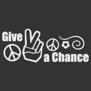"""Retro hippi felirat, """"adj egy esélyt"""" feliratos falmatrica kép"""