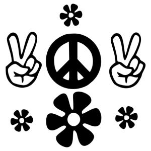 Retro hippi szimbólumos falmatrica kép