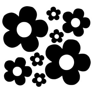 Retro hippi virágok 1 falmatrica kép