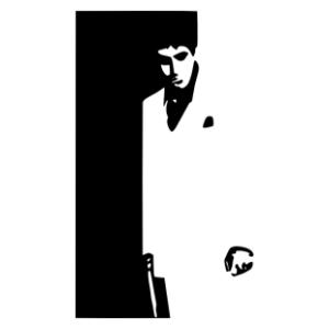 Sebhelyesarcú (Scarface) film-borító matrica kép