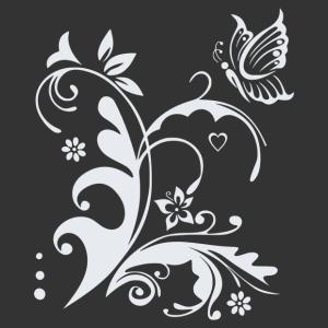 Virágok lepkével matrica kép
